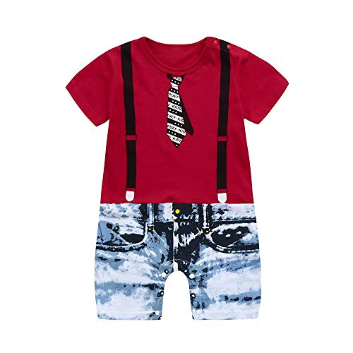 LABIUO❤️0-4T Kleinkind Baby Jungen Strampler, Blumendruck Kurzarm Krawatte Overall Strampler Babyoverall Anzug(Rot,4T) (Anzug 4t Jungen)