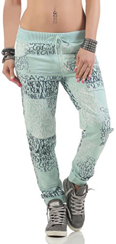 malito Sweatpants mit Schriftzug Baggy 3570 Damen One Size Hellgrün