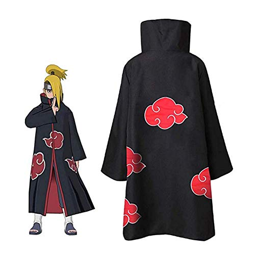 GGOODD Naruto Akatsuki Stehkragen Zip-Umhang Anime Cosplay kostüm Unisex Hokage Halloween Mantel Uniform,S