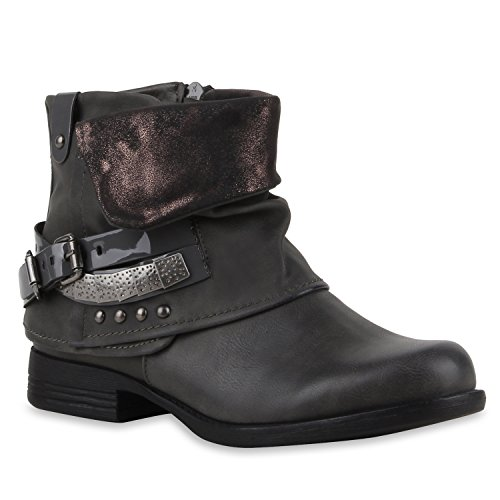 Warm Gefütterte Damen Lack Biker Boots Nieten Stiefeletten Grau