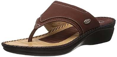 Dr.Scholl Women's Walkthong Brown Leather Slippers - 4 UK/India (37 EU) (6744729)
