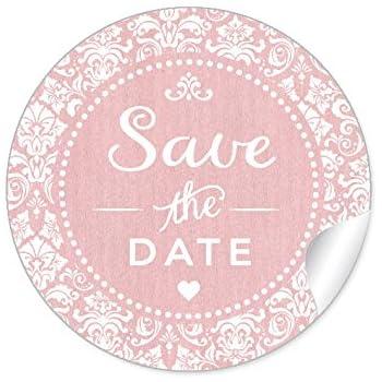 """24 STICKER: Romantische Etiketten""""Save the Date"""" im""""Shabby Chic gestreiften Packpapier Retro Look"""" (4 cm, rund, matt) Für Gastgeschenke oder Tischdeko zur Hochzeit Geburtstag in Rosa"""