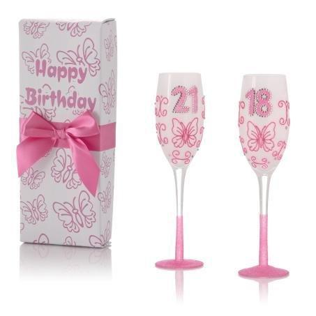 1821Glitz Schmetterling pink Kristall Weiß Geburtstag Champagner Gläser 18. 21. AGE 21