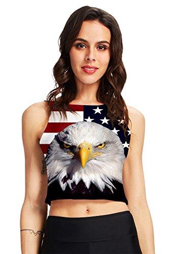 chicolife Womens Mädchen SLM Fit Kostüm Coole lustige verrückte Amerika Flagge Adler Bedruckt Yoga-Weste-Oberteilen (Coole Kostüm Für Tanz)