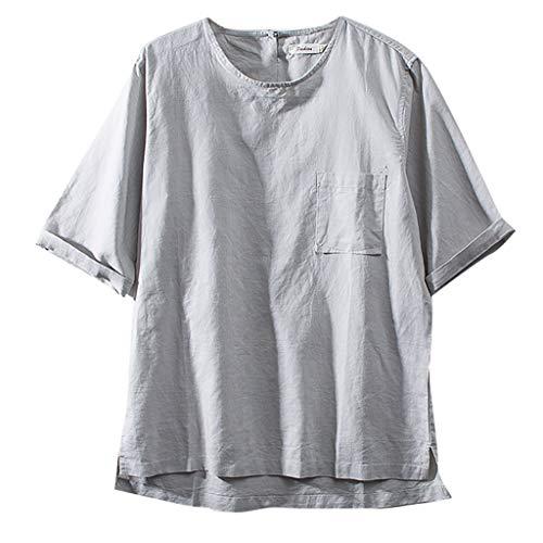 Performance-baumwolle Kurze (Beudylihy Herren-T-Shirt im chinesischen Stil, dünne Baumwoll- und Leinen-Lässigkeit, Kurze Ärmel)