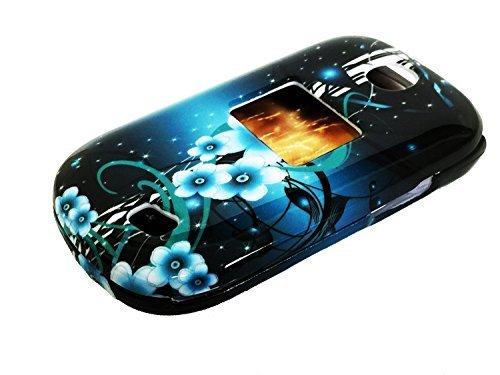Für Gerade Talk TracFone Net10LG 441g Hard Snap on Protector Handy Cover Case + Happy Face Telefon Staub Plug, Aqua Teal Flower Aqua-faceplates