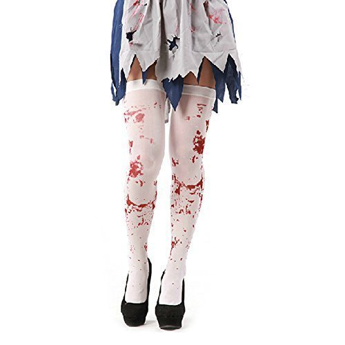 Halloween Zombie Strumpfband Blood Kostüme mit Befleckt Kniestrümpfe - Rot, (Womens Night Nurse Kostüme)