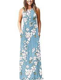 d42bd0bb883 PCEAIIH Women Long Sleeve Loose Plain Maxi Dresses Casual Long Dresses with  Pockets