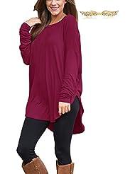 BYD Mujeres Blusas Liso Asimétrico Camisetas Manga Larga Redondo T shirt Túnica Camisas Tops
