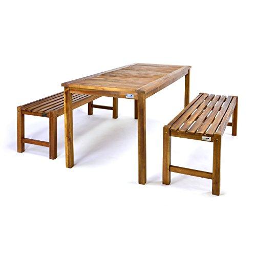 Divero Set 2 Bänke + 1 Tisch in Akazienholz - 2
