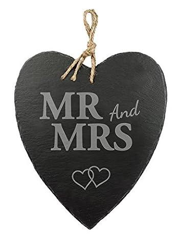 Schieferherz mit Gravur – Mr and Mrs – Motiv Herzen – Standard – Schöne Wanddeko als Hochzeitsgeschenk – Geschenkideen für Ehe-Paare – mit Jute-Band zum (Geschenke Für Ehe-paare)