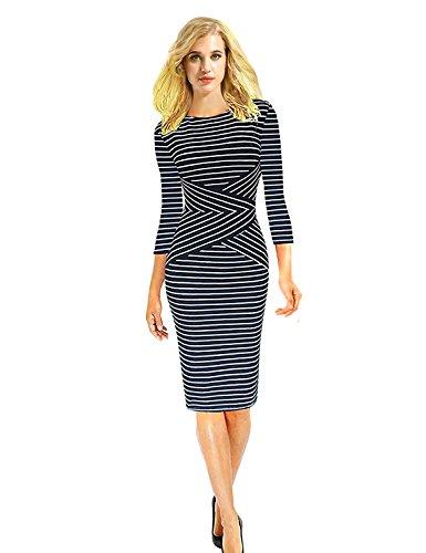 Cindeyar Women's Striped Pencil Dress 3/4 Sleeve Business Dress Autumn Winter Long Sleeve T-Shirts Long Tee Shirts(Navy M)