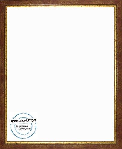 Napoli Bilderrahmen Massivholz mit vintage patiniertem Cottage Look und goldfarbener Innenkante 45 x 65 cm hochwertige Leiste 65 x 45 cm Farbwahl hier: Rotgold mit Acrylglas Antireflex 1 mm