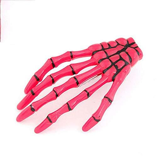 Skeleton Kostüm Punk Pink - HLCE Halloween Womens Skeleton Claws Haarspangen Schädel Hand Haarnadel Punk Haarschmuck für Frauen Mädchen (Farbe : Pink)