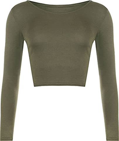 LADIES CREW NECK LONG SLEEVE CROP TOP T SHIRT TOPS WOMENS TOP 8-14