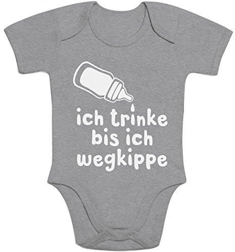 Shirtgeil Ich Trinke Bis Ich Wegkippe Super Lustige Babymode Baby Body Kurzarm-Body 0-3 Months Grau