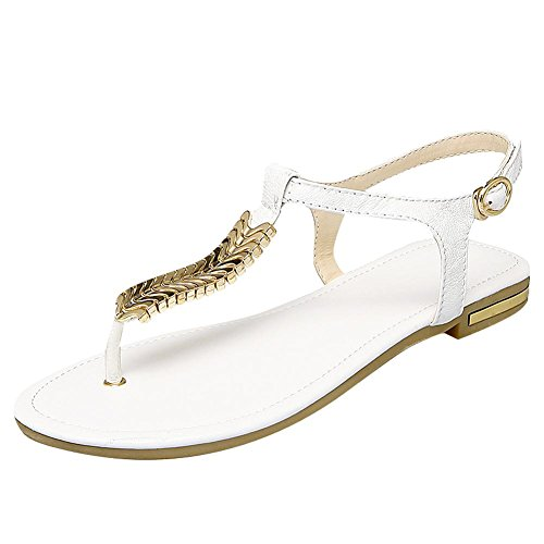 Mee Shoes Damen Schnalle flach Slingback Zehentrenner Sandalen Weiß