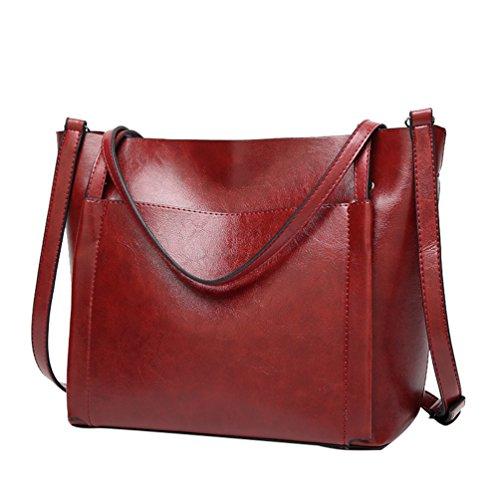 0021ca60143c1 YiLianDa Damen Handtasche Leder Henkeltasche Vintage Umhängetasche  Schultertasche Shopper Tasche Tote als Bild(1)