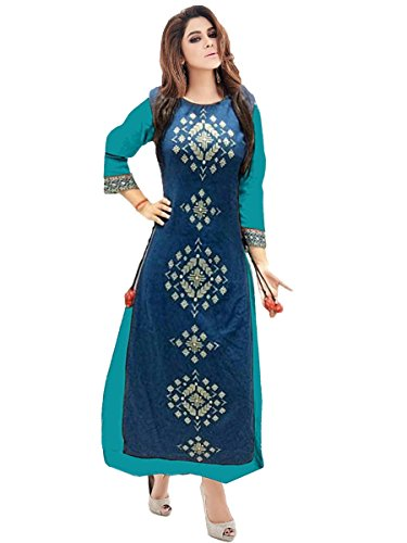 Devani Brothers Women's Taffeta Silk Layered Kurta Blue_Small