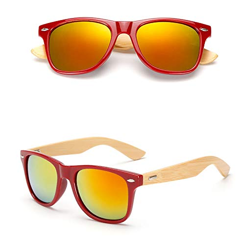 Eye-nak Holz Sonnenbrille UV400 - Unisex Damen und Herren Brille mit Bambus Bügeln - Holzbrille - unterschiedliche Farben (C13)