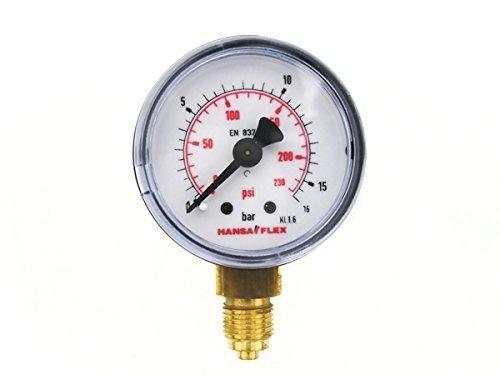 Preisvergleich Produktbild Ø 40mm Manometer 0-16 Bar Gewinde G 1/8 Zoll Hansa Flex Druckanzeige unten