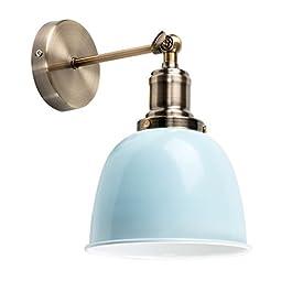 MiniSun – Moderna lampada da parete con un tocco retrò, braccio articolato, in metallo effetto ottone antico – Forma di cupola bianca