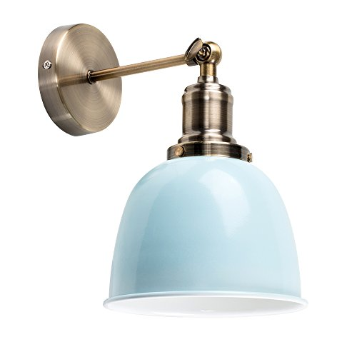 Minisun - moderna lampada da parete con un tocco retrò e braccio articolato - metallo effetto ottone antico - forma di cupola azzurra