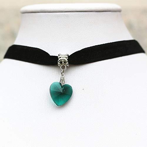 ZUXIANWANG Einfache Kristall Herzen Halsketten Anhänger Gothic Black Velvet Lace Halsketten Halskette, EIN