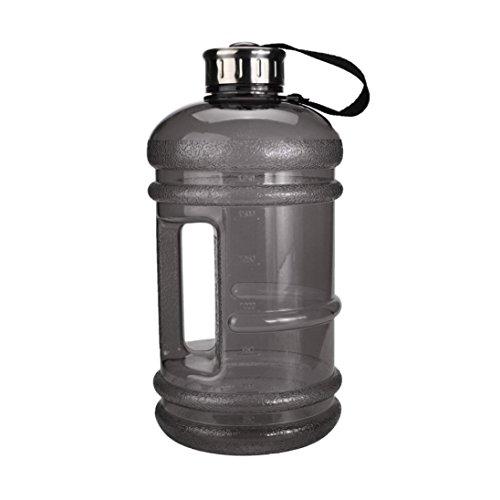 (HARRYSTORE 2.2L Großer Bequemer Sport Gym Trainings Getränk Wasser Flaschen Kappen Kessel für Workout (Schwarz))