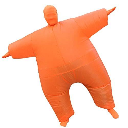 MIANJUTIA Blow Up Full Body Aufblasbare Halloween Kostüm Polyester Bekleidung Jumpsuit Fett Anzug für Erwachsene Party Cosplay Fancy Dress Orange Farbe