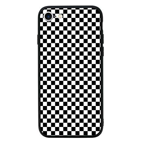 Fall Transparent Checker (I-CHOOSE LIMITED Junge Rennfahrer Temperiert Glas Zurück Fall Kompatibel mit iPhone 8 - Handyhülle Schutzhülle Stoßfänger für 4.7 Zoll Bildschirm)