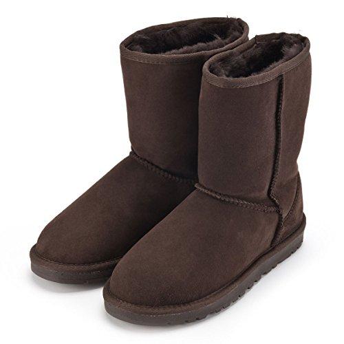 Sheepskin World Deluxe kurz Pelz Stiefel mit britischer Schafwolle-Schokolade, Braun - Schokoladenbraun - Größe: 42 2/3 -