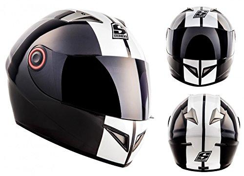 SOXON ST-666 Deluxe Snow · Urban Cruiser Sport Urbano Moto Scooter Casco Integrale Helmet · ECE certificato · compresi parasole · compresi Sacchetto portacasco · Nero/Bianco · L (59-60cm)