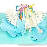 PaperCrush Pop-Up Karte Einhorn [NEU] - 3D Geburtstagskarte Unicorn, Lustige Einhornkarte für Kinder Geburtstag, Beste Freundin - Handgemachte Glückwunschkarte zum Kindergeburtstag für Mädchen