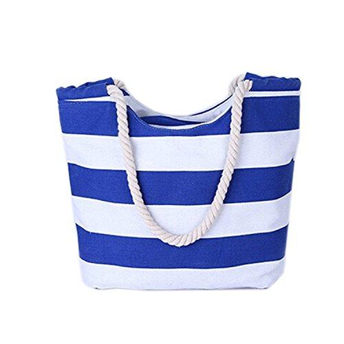 Minetom Donne Grande Spiaggia Borsa Shopper Handbag Classico Striscia Borsa Blu B - Viola Chevron Stripes