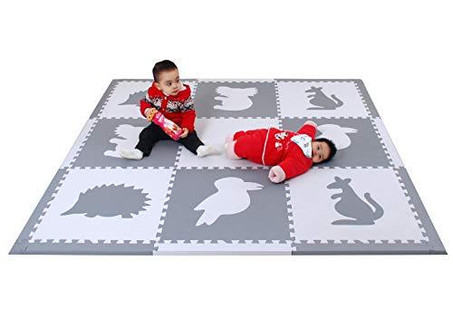 meiqicool Schaumstoff Play Mat Schaumstoff Boden Fliesen Boden Puzzles playmats & Boden Fitnessraum für Kinder, Kinder große Boden Fliesen (188 x 188 x 1,4 cm) 6014BH