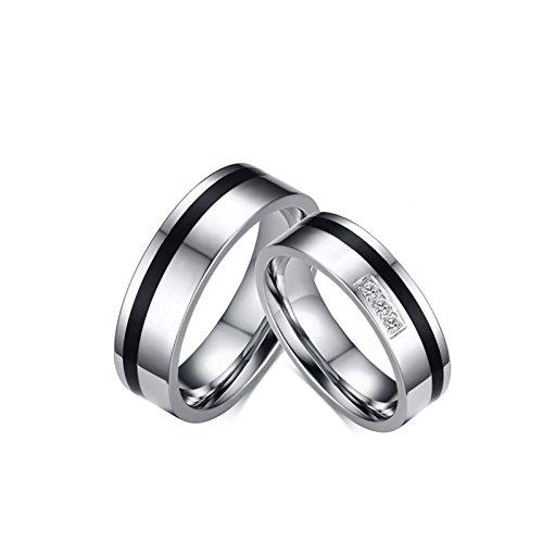 SonMo 2 Stück Frau Mann Edelstahl Fingerring Silber Eheringe Bicolor für Paare Schwarz Silber Frau:54 (17.2) & Mann:65 (20.7) Breit:6MM