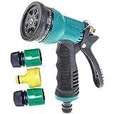 Kitchen Point Plastic Trigger Water Spray Gun - 8 Mode For Car Washing/Bike/Plants/Gardening Water Spray Gun(Green And Black)