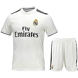 Camiseta de fútbol Personalizada y Pantalones Cortos Real Madrid 2018-2019 Nueva Temporada Kits de Camisetas de fútbol Personalizados para niños Adultos Niños jóvenes Cualquier Nombre y número