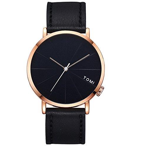 LongraReloj De Negocios De La Moda De Los Hombres, Reloj De Banda Redonda De Cuero De Diseño Retro (F)