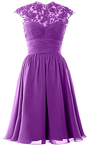 Women High Neck Cap Sleeve Lace Short Bridesmaid Dress Wedding Party Ball Gown Amethyst