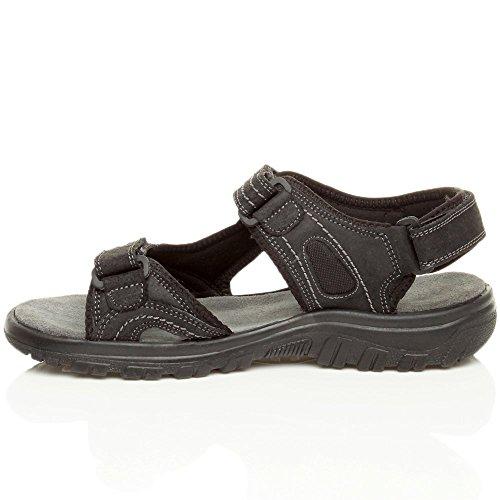 Herren Kleine Absatz Flach Echtleder Klettverschluss Verstellbar Sandalen Größe Schwarz
