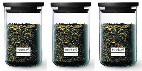 Bodum K8560-01 - Set di 3 barattoli in Vetro, 0,6 l, Coperchio in plastica