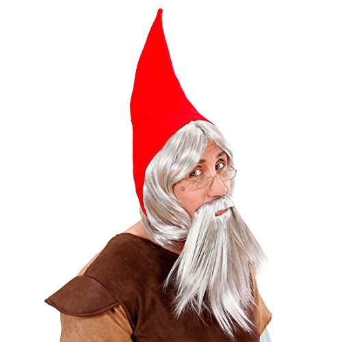 Gnome-Hat-with-wig-CAP-hair-Zwergenmtze-Pointed-Gnome-Zwergenpercke-Zwergenset-Zwergenset-Set