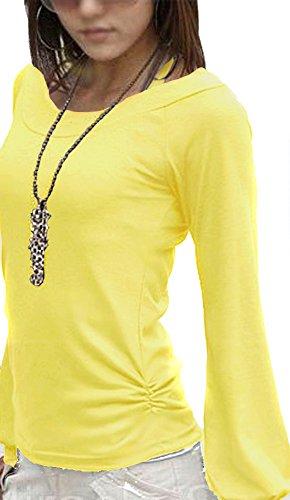 Mississhop Fador Japan Style Moderne Bluse Tunika Longshirt Gelb M