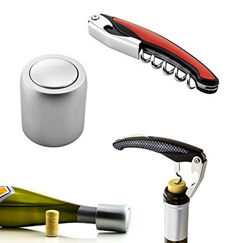 dreiF Weinflaschenverschluss aus Edelstahl + Kellnermesser mit Korkenzieher und Folienschneider in Rot | Wein-Set - Geschenkidee für Weinkenner