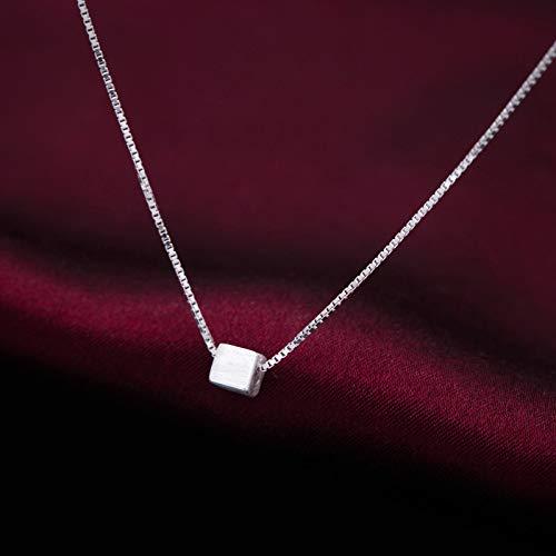 LLCF jewelry★925 Silber Halskette Mini Square Anhänger Halskette Short Sexy Schlüsselbein Kette Frau Kette 1 Pc Silber
