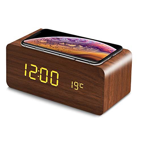 fomobest LED Wecker Digital Wecker Holz Tischuhr mit Induktionsladegeräte/Datum/Temperatur Anzeige Walnuß