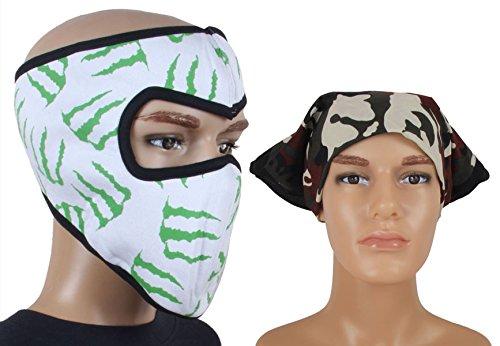 Jstarmart White Green Face Mask Combo Headwrap