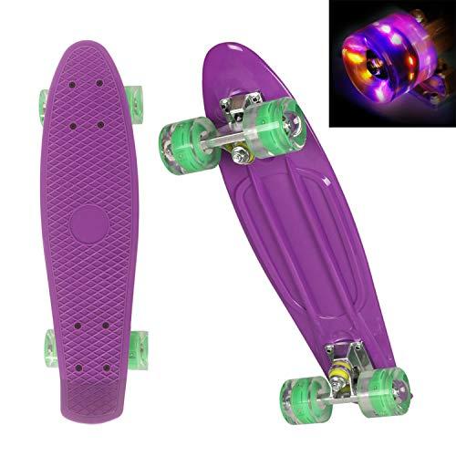"""WeSkate Cruiser Skateboard Retro Mini Komplettboard, 22\"""" 55cm Vintage Skate Board mit Kunstsoff Deck und blinkenden LED-rollen mit LED Leuchtrollen für Erwachsene Kinder Jungen Mädchen"""